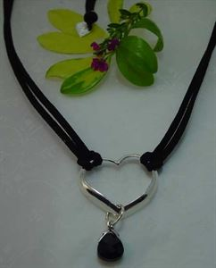 Picture of BLACK SUEDE AND CRYSTAL DROP NECKLACE